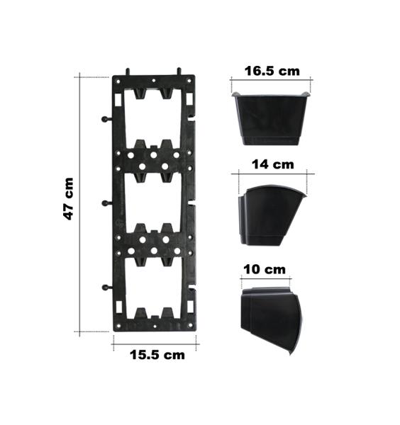 Bộ chậu vườn tường đừng loại khung treo dọc 47×15,5 cm