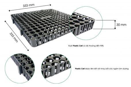 Vỉ thoát nước toàn phần Plastic Cell 300x300mm