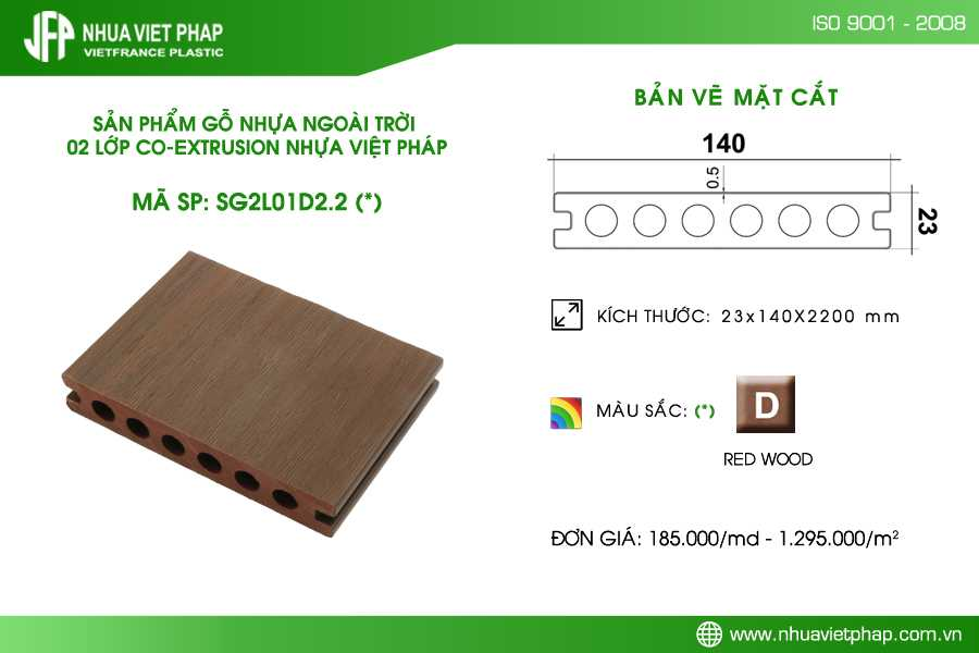 Sàn gỗ nhựa PE ngoài trời 02 lớp Hi-class - Nhựa Việt Pháp