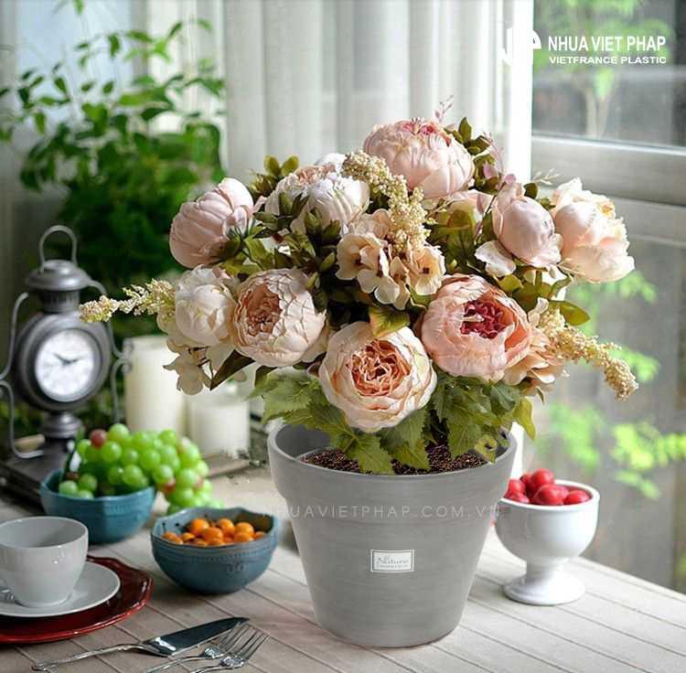 Chậu hoa gỗ nhựa   Nhựa Việt Pháp