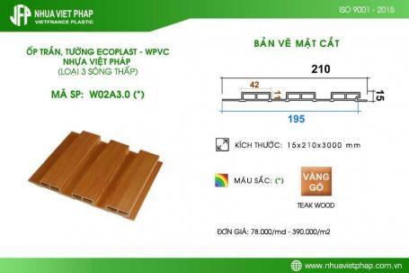 Gỗ nhựa sinh thái Ecoplast – WPVC loại 3 sóng thấp