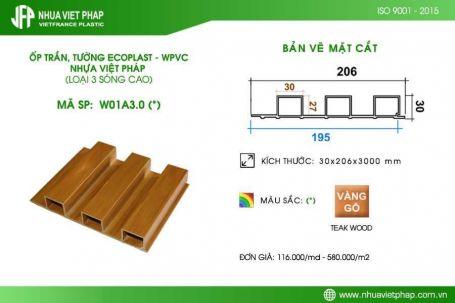 Gỗ nhựa sinh thái Ecoplast – WPVC loại 3 sóng cao