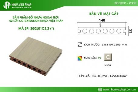 Sàn gỗ nhựa PE ngoài trời 02 lớp Hi-class màu ghi sáng SG2L01C2.2