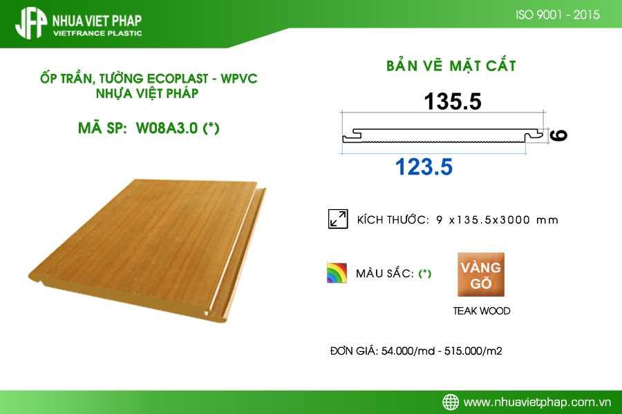 Tấm ốp trần, ốp tường Ecoplast – WPVC W08