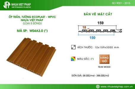 Gỗ nhựa sinh thái Ecoplast – WPVC loại 5 sóng