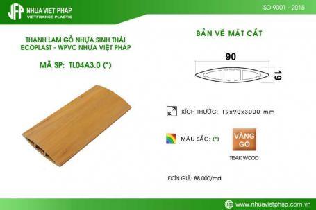 Gỗ nhựa sinh thái Ecoplast WPVC – Thanh lam elip 19×90 mm