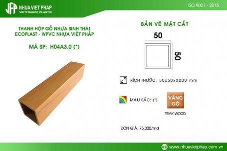 Gỗ nhựa sinh thái Ecoplast WPVC – Thanh hộp 50×50 mm
