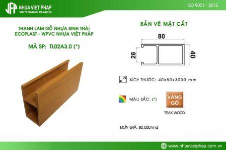 Gỗ nhựa sinh thái Ecoplast WPVC – Thanh lam 40×80 mm