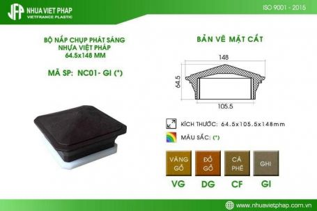 Nắp chụp phát sáng ngoài trời NC01 Nhựa Việt Pháp