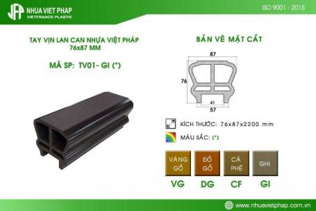 Tay vịn lan can gỗ nhựa TV01 Nhựa Việt Pháp