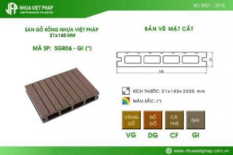 Sàn gỗ rỗng SGR06 – Sàn gỗ ngoài trời Nhựa Việt Pháp