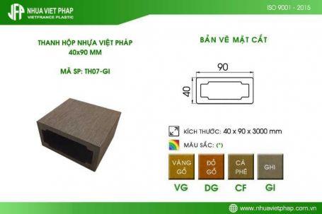 Thanh hộp gỗ nhựa TH07 – Nhựa Việt Pháp