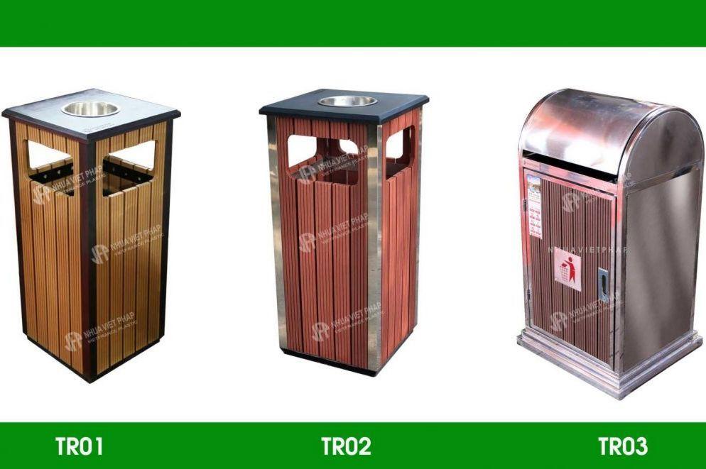 Thùng rác đơn ngoài trời Nhựa Việt Pháp